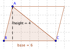 We have learned that multiplying the base and height of a parallelogram  gives the area of the parallelogram, so the area of this parallelogram is 6  • 4   24 ... ef5eaae024