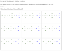 math worksheet : dynamically generated fraction worksheets  mathvillage : Dynamic Addition Worksheets